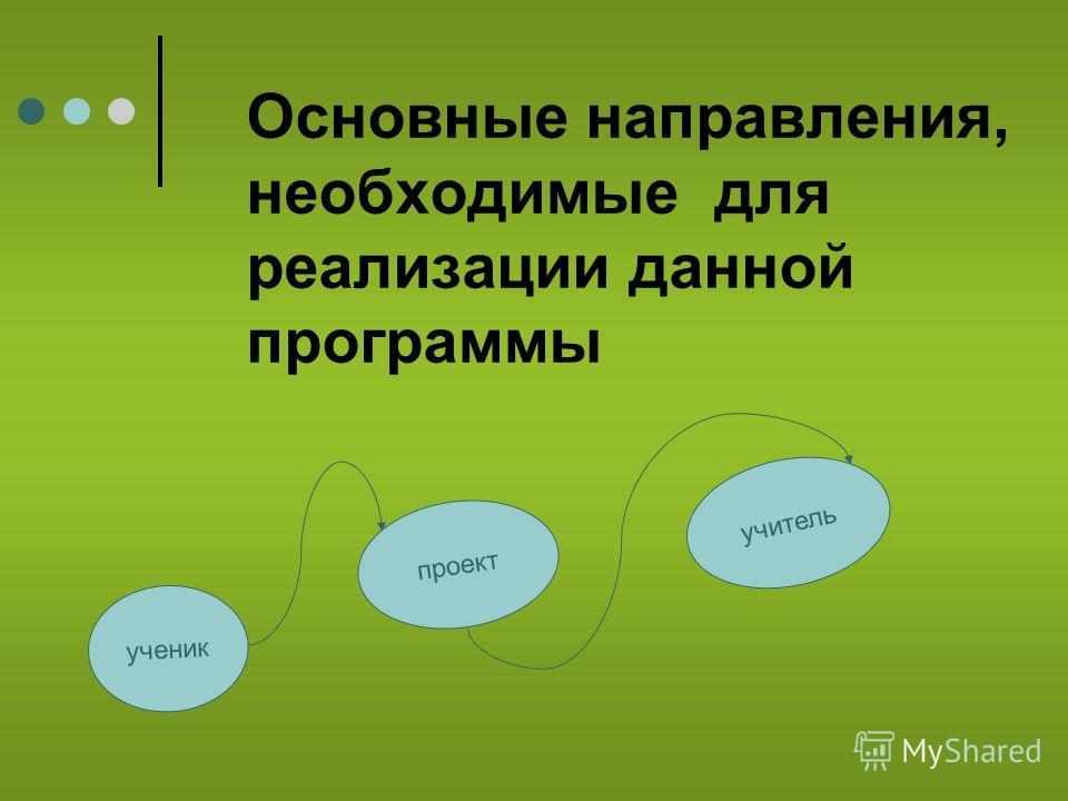 Основные направления, необходимые для реализации данной программы ученик проект учитель