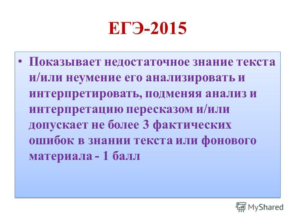 ЕГЭ-2015 Показывает недостаточное знание текста и/или неумение его анализировать и интерпретировать, подменяя анализ и интерпретацию пересказом и/или допускает не более 3 фактических ошибок в знании текста или фонового материала - 1 балл