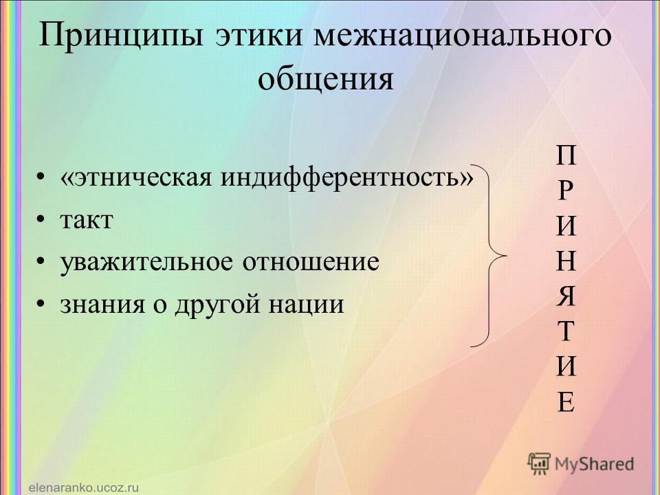 Принципы этики межнационального общения «этническая индифферентность» такт уважительное отношение знания о другой нации ПРИНЯТИЕПРИНЯТИЕ