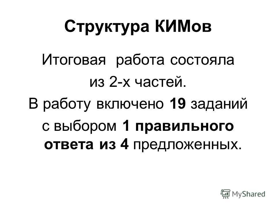 Структура КИМов Итоговая работа состояла из 2-х частей. В работу включено 19 заданий с выбором 1 правильного ответа из 4 предложенных.