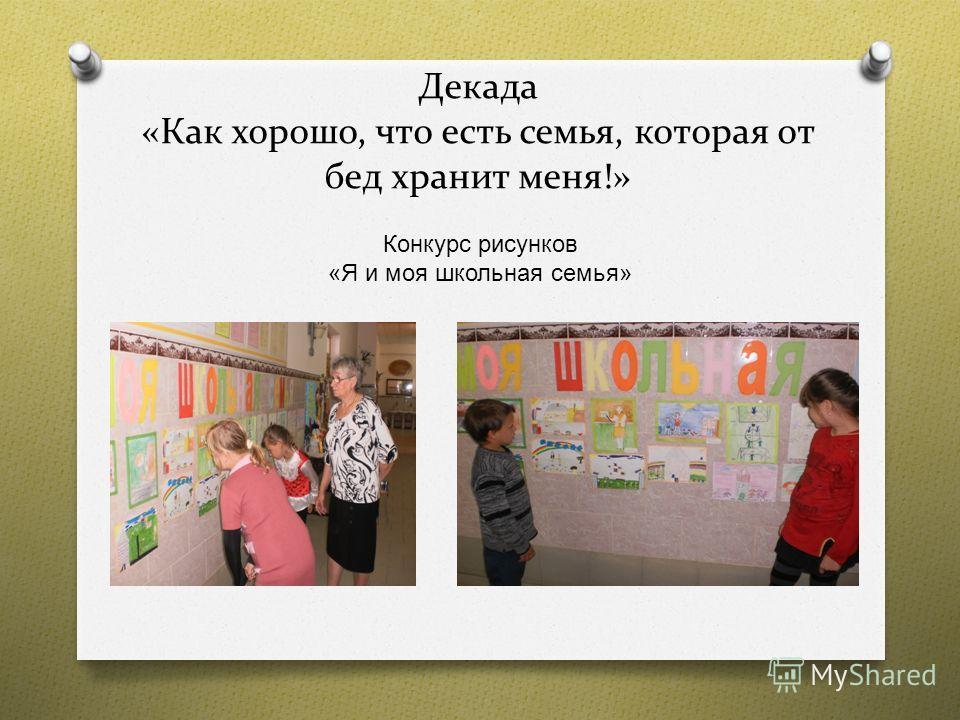 Декада «Как хорошо, что есть семья, которая от бед хранит меня!» Конкурс рисунков « Я и моя школьная семья »