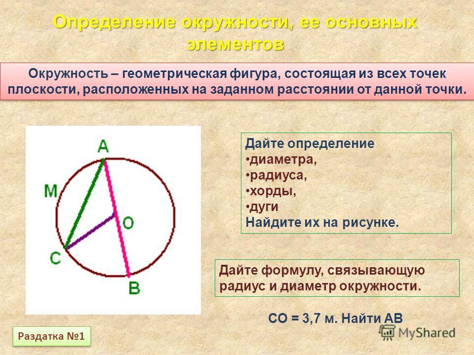 Окружность – геометрическая фигура, состоящая из всех точек плоскости, расположенных на заданном расстоянии от данной точки. Определение окружности, ее основных элементов Дайте определение диаметра, радиуса, хорды, дуги Найдите их на рисунке. Дайте ф
