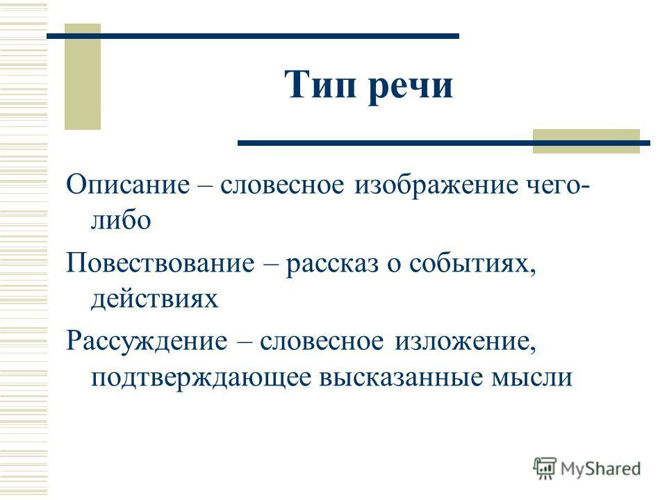 Тип речи Описание – словесное изображение чего- либо Повествование – рассказ о событиях, действиях Рассуждение – словесное изложение, подтверждающее высказанные мысли