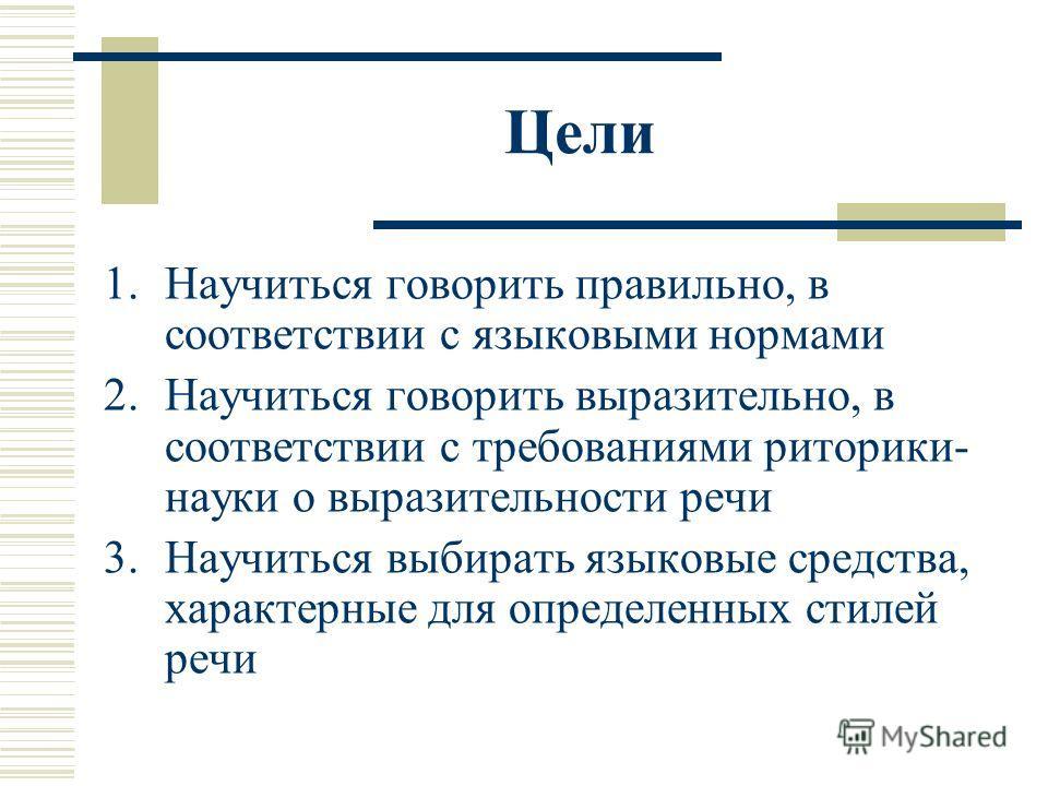 Цели 1.Научиться говорить правильно, в соответствии с языковыми нормами 2.Научиться говорить выразительно, в соответствии с требованиями риторики- науки о выразительности речи 3.Научиться выбирать языковые средства, характерные для определенных стиле