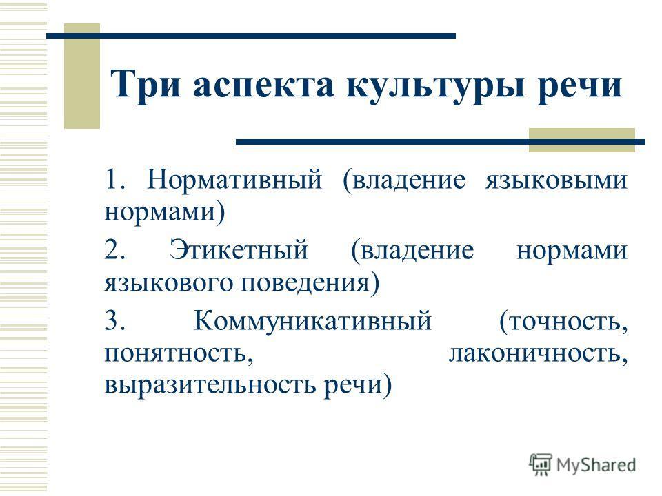 Три аспекта культуры речи 1. Нормативный (владение языковыми нормами) 2. Этикетный (владение нормами языкового поведения) 3. Коммуникативный (точность, понятность, лаконичность, выразительность речи)