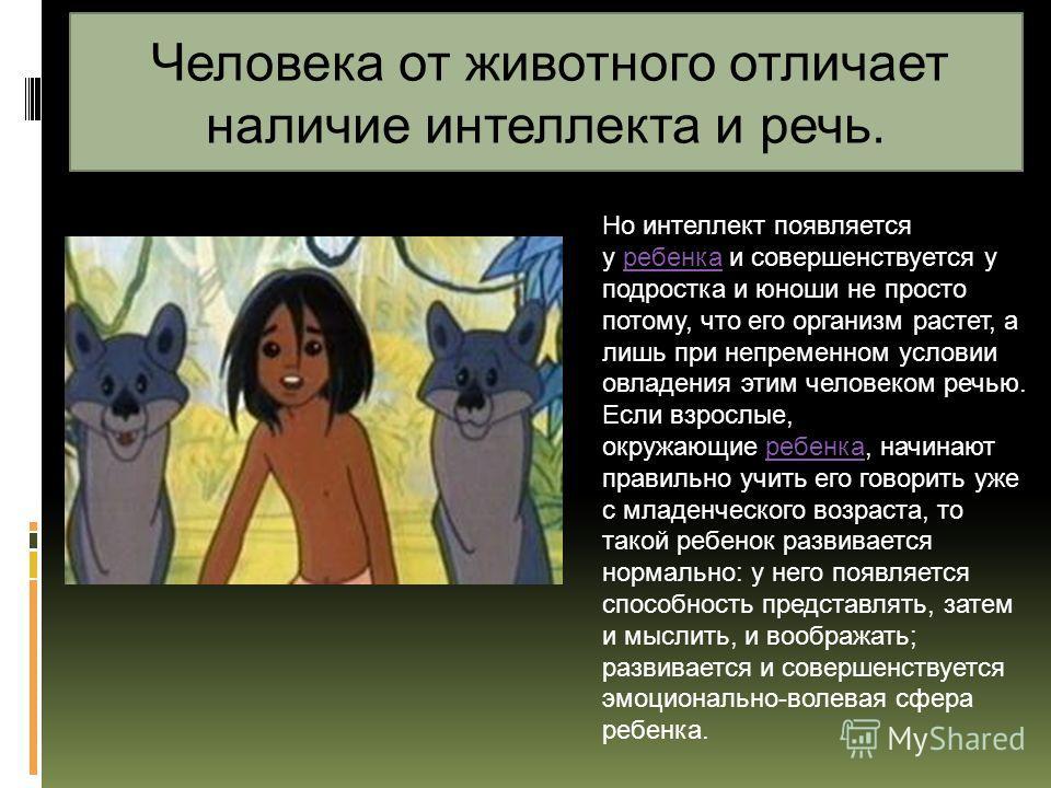 Человека от животного отличает наличие интеллекта и речь. Но интеллект появляется у ребенка и совершенствуется у подростка и юноши не просто потому, что его организм растет, а лишь при непременном условии овладения этим человеком речью. Если взрослые