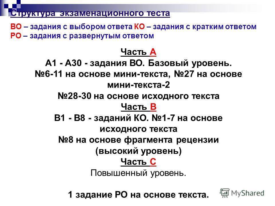Структура экзаменационного теста ВО – задания с выбором ответа КО – задания с кратким ответом РО – задания с развернутым ответом Часть А А1 - А30 - задания ВО. Базовый уровень. 6-11 на основе мини-текста, 27 на основе мини-текста-2 28-30 на основе ис