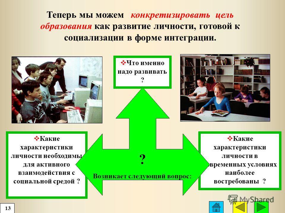 Какие характеристики личности в современных условиях наиболее востребованы ? Какие характеристики личности необходимы для активного взаимодействия с социальной средой ? Теперь мы можем конкретизировать цель образования как развитие личности, готовой