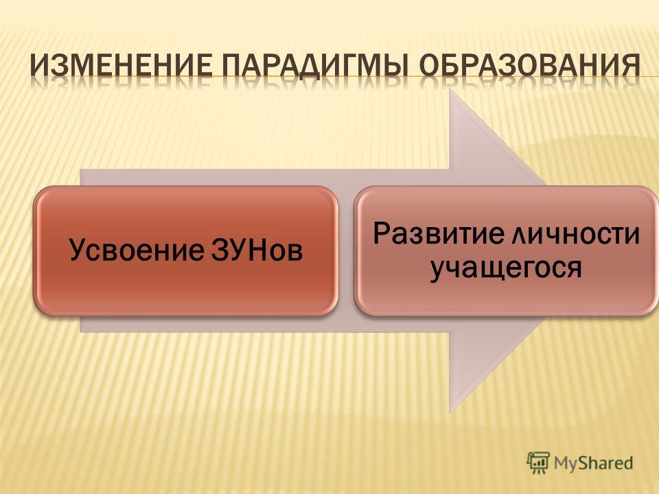 Усвоение ЗУНов Развитие личности учащегося
