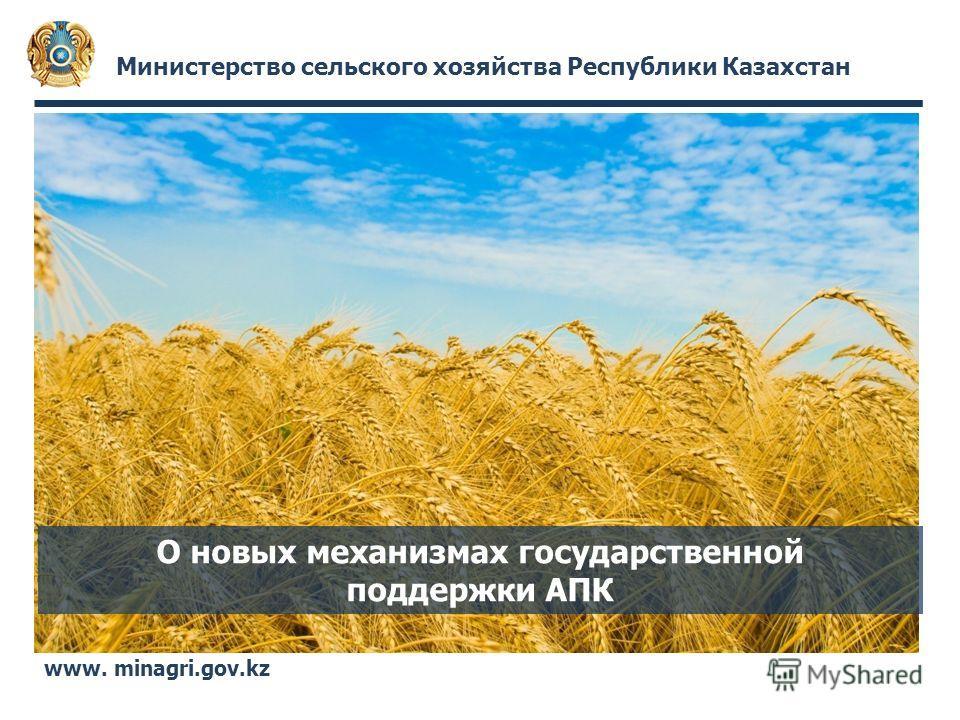 Министерство сельского хозяйства Республики Казахстан www. minagri.gov.kz О новых механизмах государственной поддержки АПК