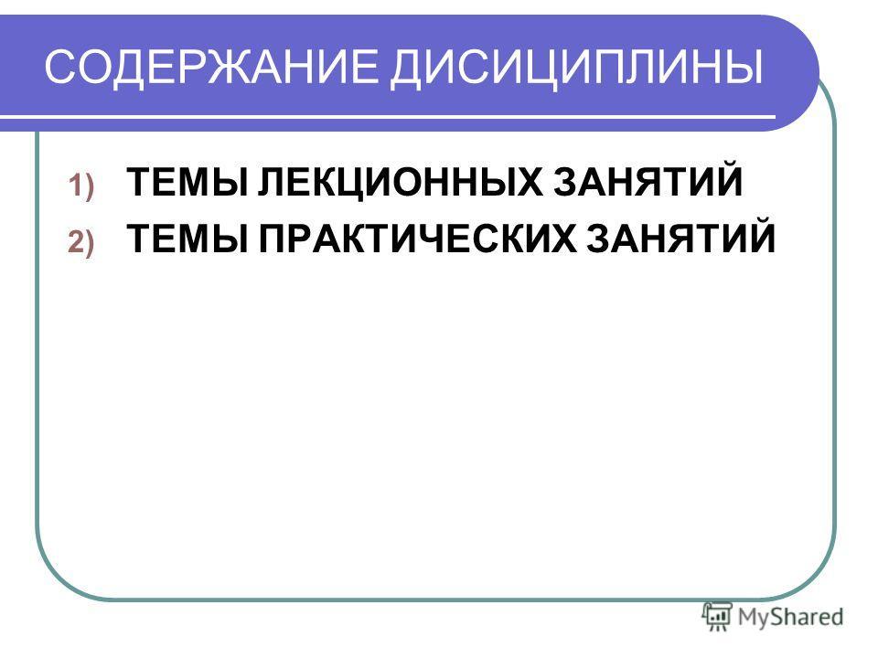 СОДЕРЖАНИЕ ДИСИЦИПЛИНЫ 1) ТЕМЫ ЛЕКЦИОННЫХ ЗАНЯТИЙ 2) ТЕМЫ ПРАКТИЧЕСКИХ ЗАНЯТИЙ
