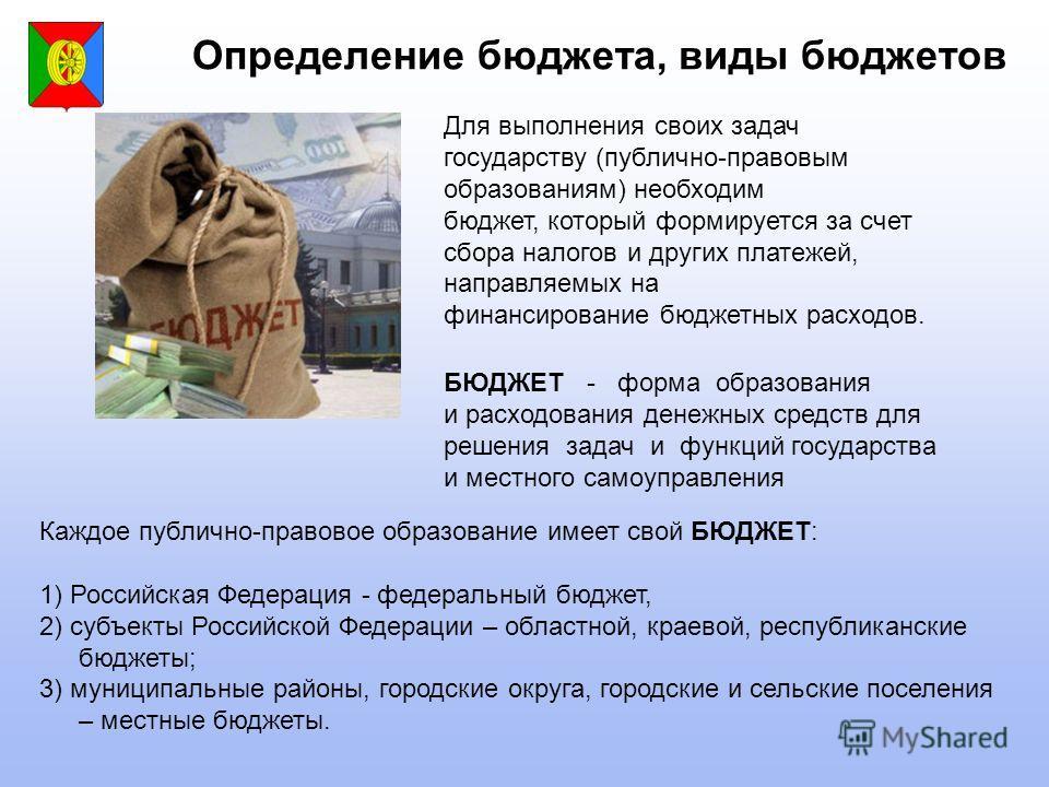 Определение бюджета, виды бюджетов БЮДЖЕТ - форма образования и расходования денежных средств для решения задач и функций государства и местного самоуправления Каждое публично-правовое образование имеет свой БЮДЖЕТ: 1) Российская Федерация - федераль