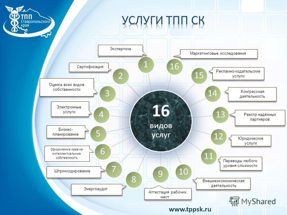 16 видов услуг 13 12 11 9 8 7 6 5 4 3 2 1 Оформление прав на интеллектуальную собственность www.tppsk.ru 16 15 14 10