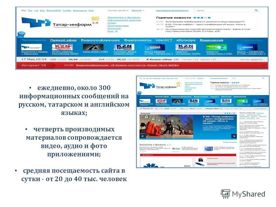 ежедневно, около 300 информационных сообщений на русском, татарском и английском языках; четверть производимых материалов сопровождается видео, аудио и фото приложениями; средняя посещаемость сайта в сутки - от 20 до 40 тыс. человек