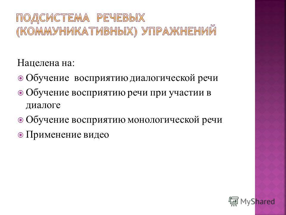 Нацелена на: Обучение восприятию диалогической речи Обучение восприятию речи при участии в диалоге Обучение восприятию монологической речи Применение видео