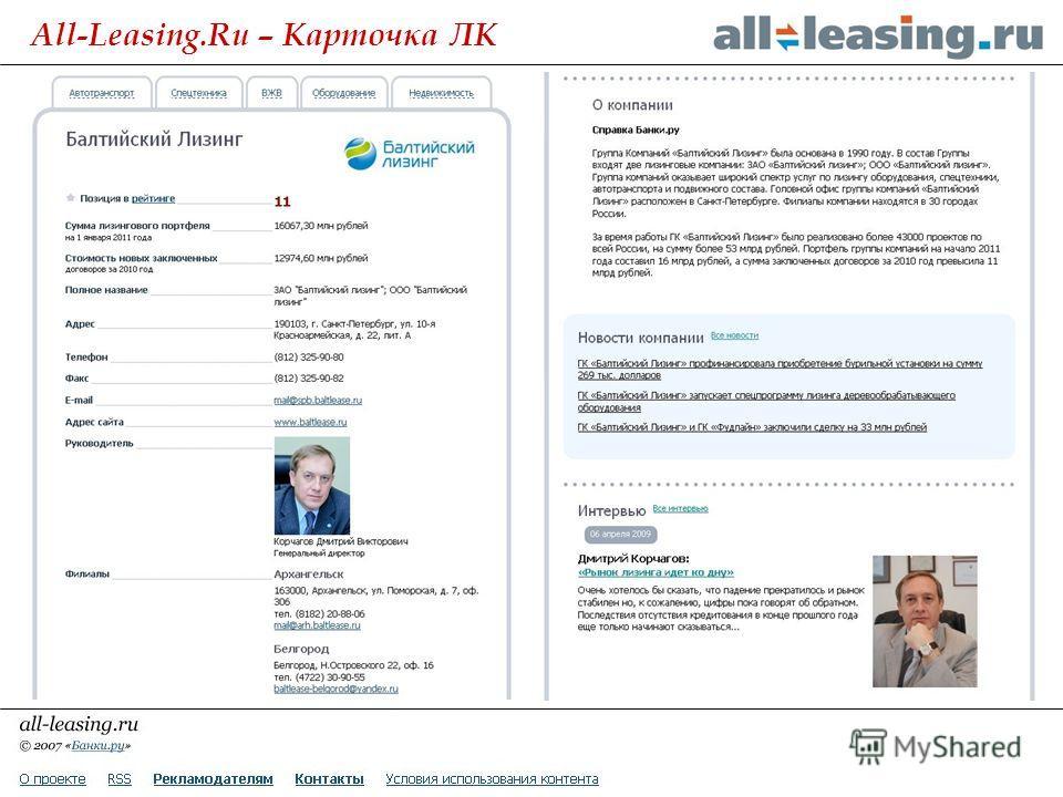 All-Leasing.Ru – Карточка ЛК