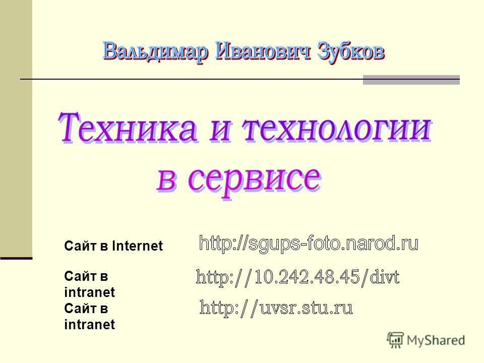 Сайт в Internet Сайт в