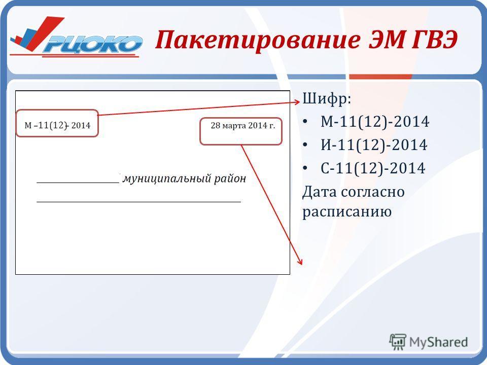 Пакетирование ЭМ ГВЭ Шифр: М-11(12)-2014 И-11(12)-2014 С-11(12)-2014 Дата согласно расписанию 11(12)