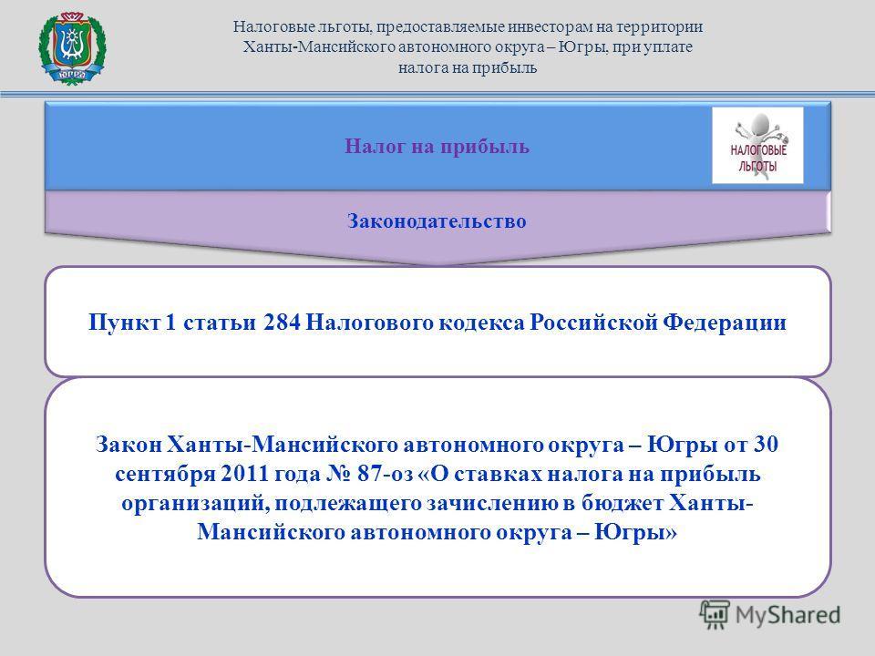 Налог на прибыль Законодательство Закон Ханты-Мансийского автономного округа – Югры от 30 сентября 2011 года 87-оз «О ставках налога на прибыль организаций, подлежащего зачислению в бюджет Ханты- Мансийского автономного округа – Югры» Пункт 1 статьи