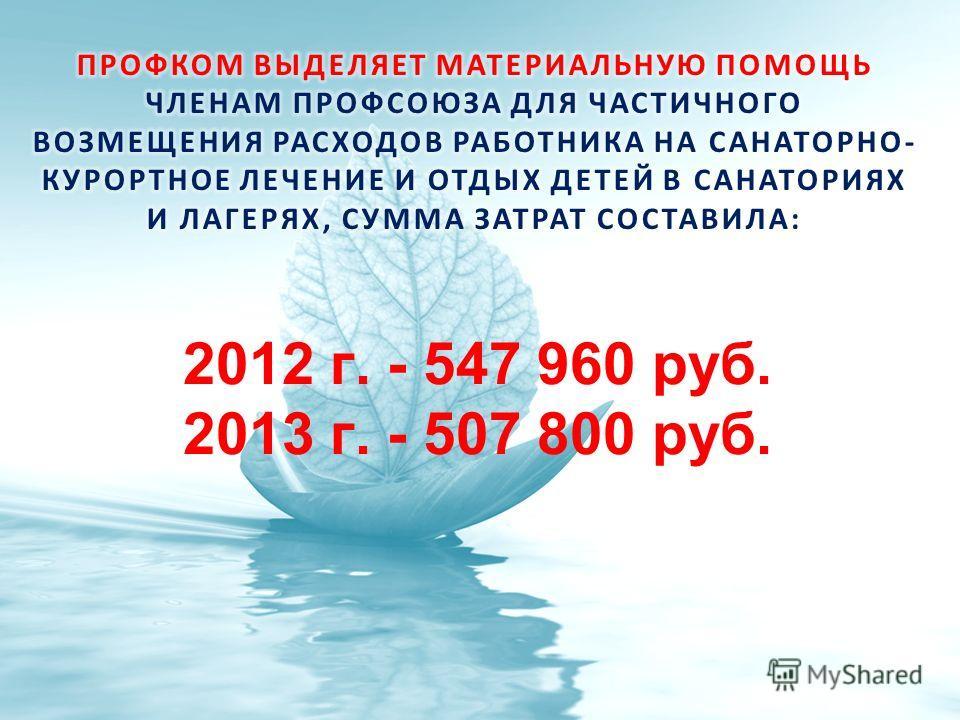 2012 г. - 547 960 руб. 2013 г. - 507 800 руб.