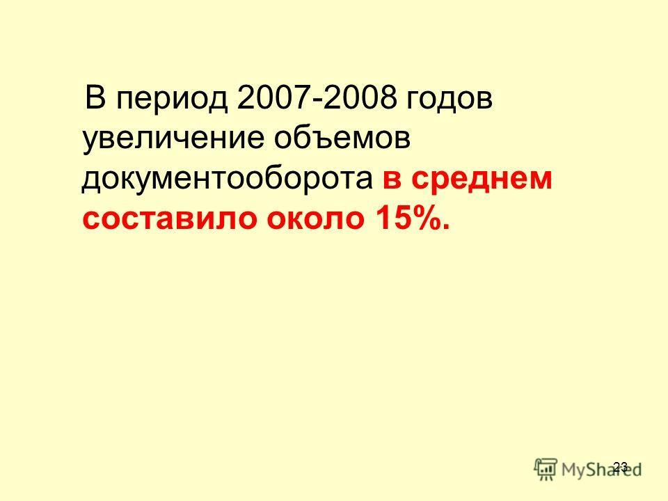 В период 2007-2008 годов увеличение объемов документооборота в среднем составило около 15%. 23