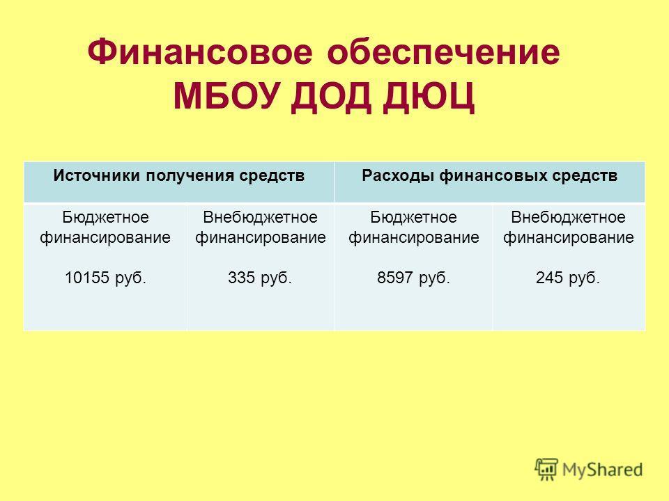 Финансовое обеспечение МБОУ ДОД ДЮЦ Источники получения средств Расходы финансовых средств Бюджетное финансирование 10155 руб. Внебюджетное финансирование 335 руб. Бюджетное финансирование 8597 руб. Внебюджетное финансирование 245 руб.