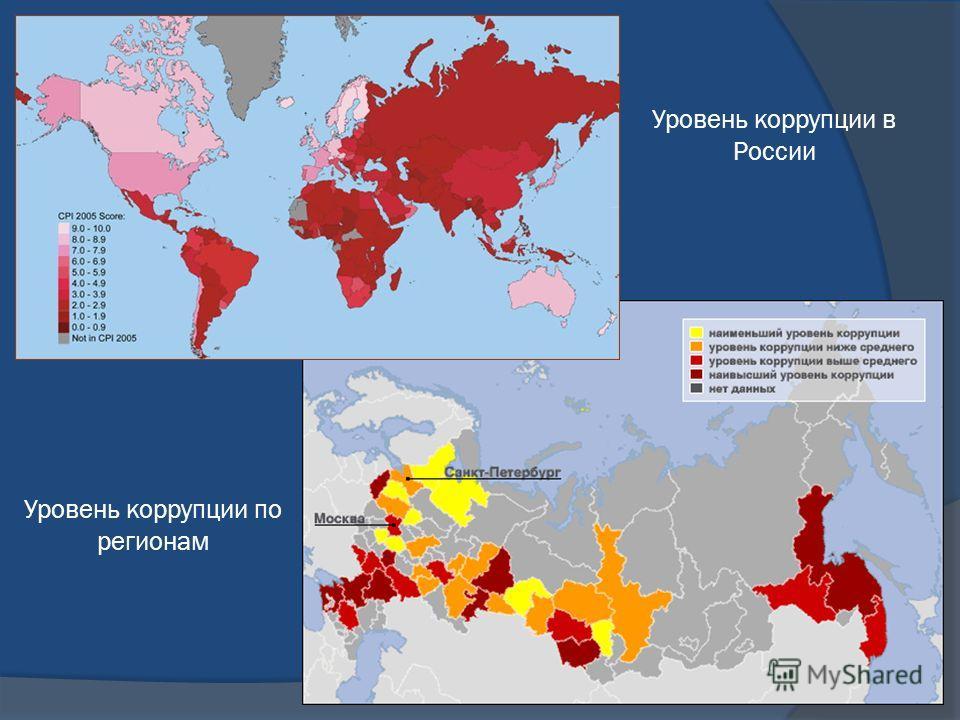 Уровень коррупции в России Уровень коррупции по регионам