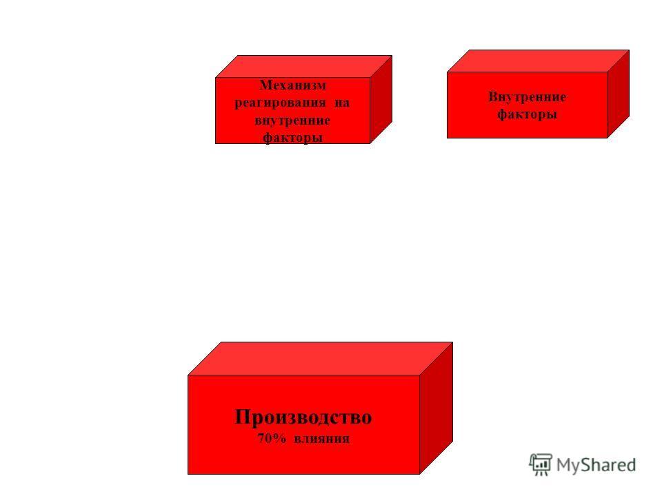 Внутренние факторы Механизм реагирования на внутренние факторы Производство 70% влияния