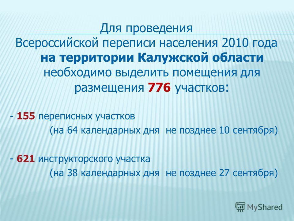 Для проведения Всероссийской переписи населения 2010 года на территории Калужской области необходимо выделить помещения для размещения 776 участков : - 155 переписных участков (на 64 календарных дня не позднее 10 сентября) - 621 инструкторского участ