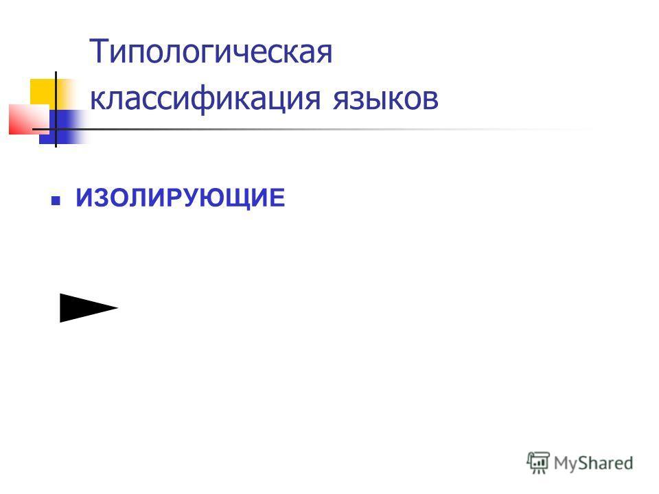Типологическая классификация языков ИЗОЛИРУЮЩИЕ
