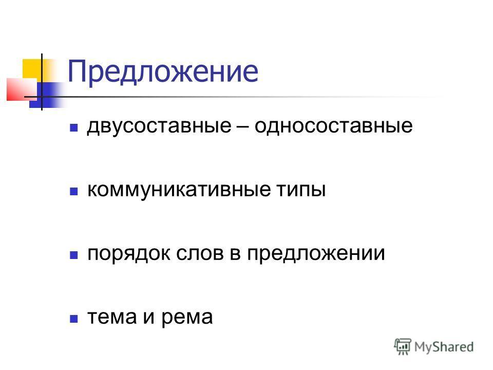 Предложение двусоставные – односоставные коммуникативные типы порядок слов в предложении тема и рема