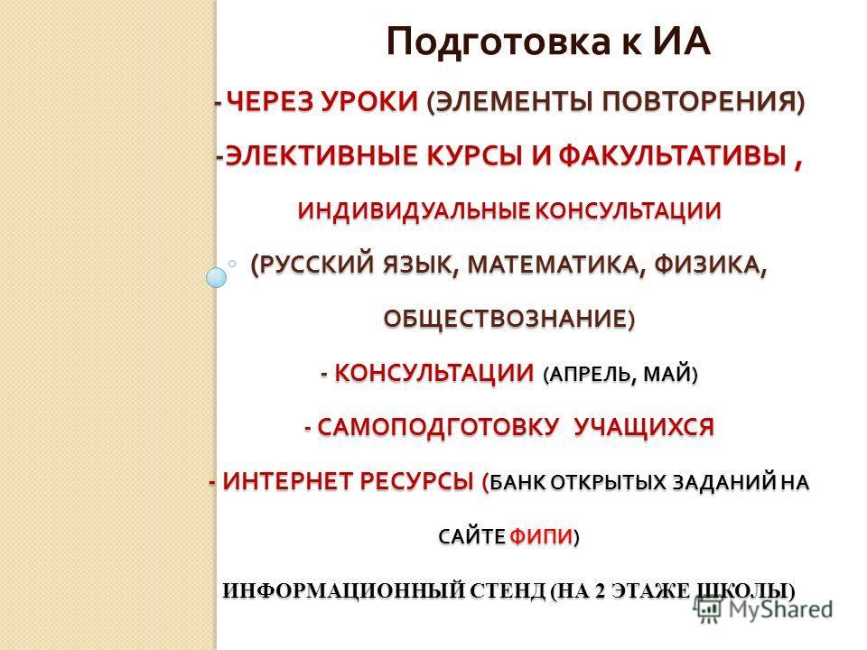- ЧЕРЕЗ УРОКИ ( ЭЛЕМЕНТЫ ПОВТОРЕНИЯ ) - ЭЛЕКТИВНЫЕ КУРСЫ И ФАКУЛЬТАТИВЫ, ИНДИВИДУАЛЬНЫЕ КОНСУЛЬТАЦИИ ( РУССКИЙ ЯЗЫК, МАТЕМАТИКА, ФИЗИКА, ОБЩЕСТВОЗНАНИЕ ) - КОНСУЛЬТАЦИИ ( АПРЕЛЬ, МАЙ ) - САМОПОДГОТОВКУ УЧАЩИХСЯ - ИНТЕРНЕТ РЕСУРСЫ ( БАНК ОТКРЫТЫХ ЗАДА