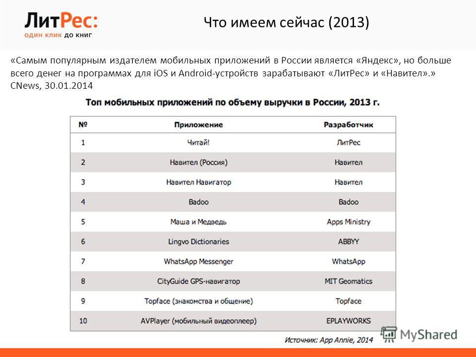 «Самым популярным издателем мобильных приложений в России является «Яндекс», но больше всего денег на программах для iOS и Android-устройств зарабатывают «Лит Рес» и «Навител».» CNews, 30.01.2014 Что имеем сейчас (2013)