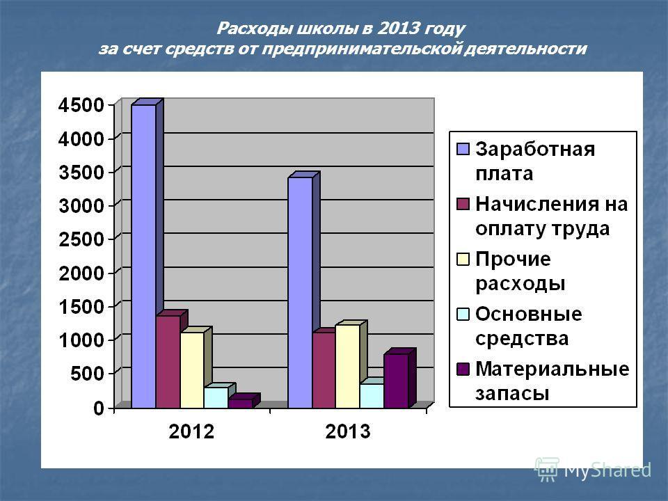 Расходы школы в 2013 году за счет средств от предпринимательской деятельности