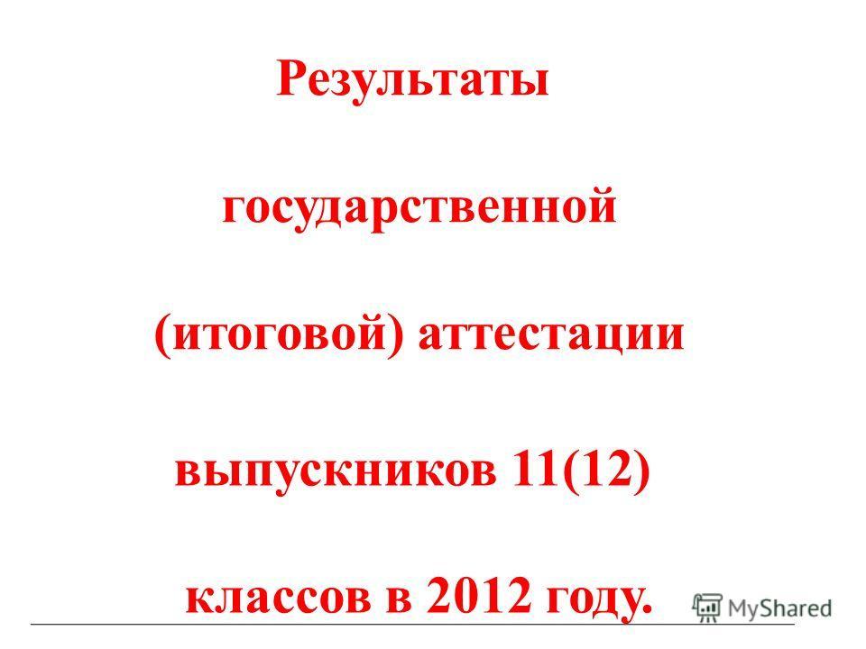 Результаты государственной (итоговой) аттестации выпускников 11(12) классов в 2012 году.