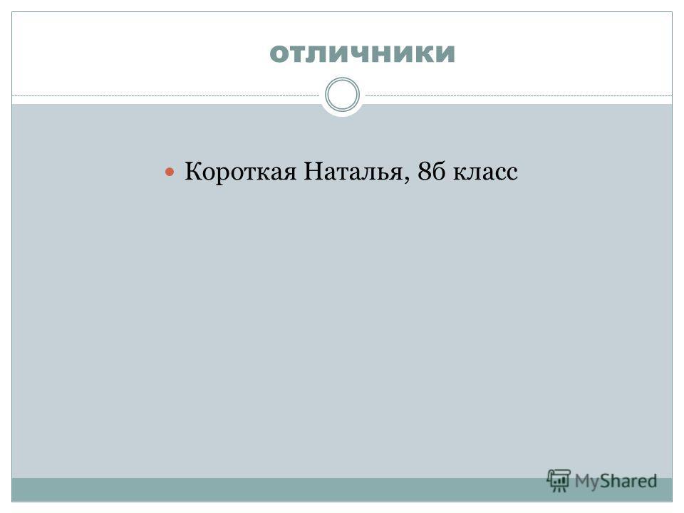 отличники Короткая Наталья, 8 б класс