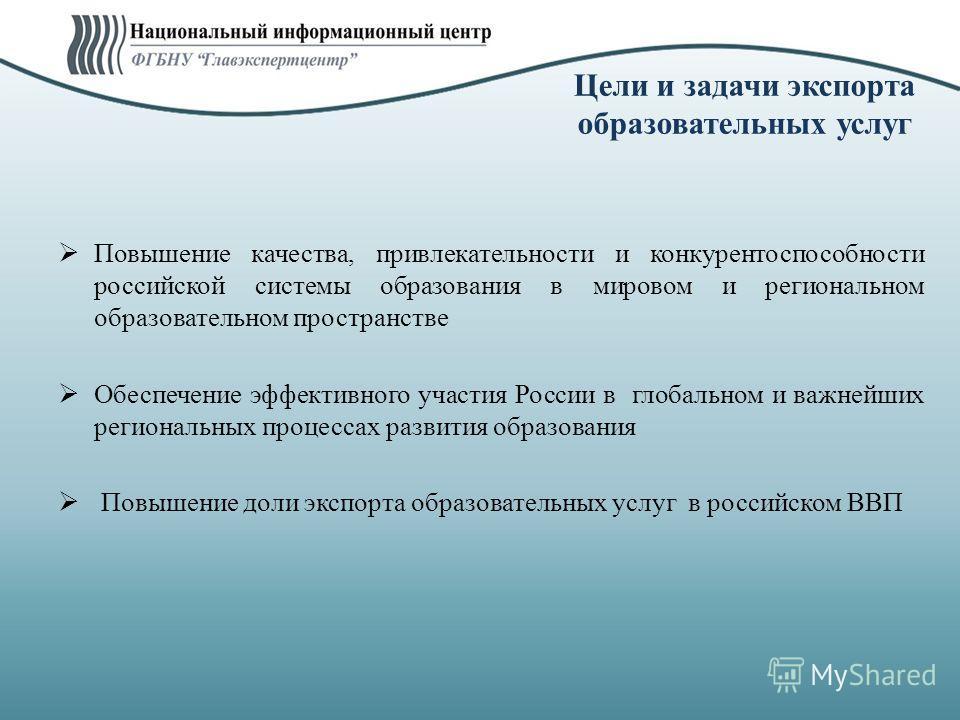 Цели и задачи экспорта образовательных услуг Повышение качества, привлекательности и конкурентоспособности российской системы образования в мировом и региональном образовательном пространстве Обеспечение эффективного участия России в глобальном и важ