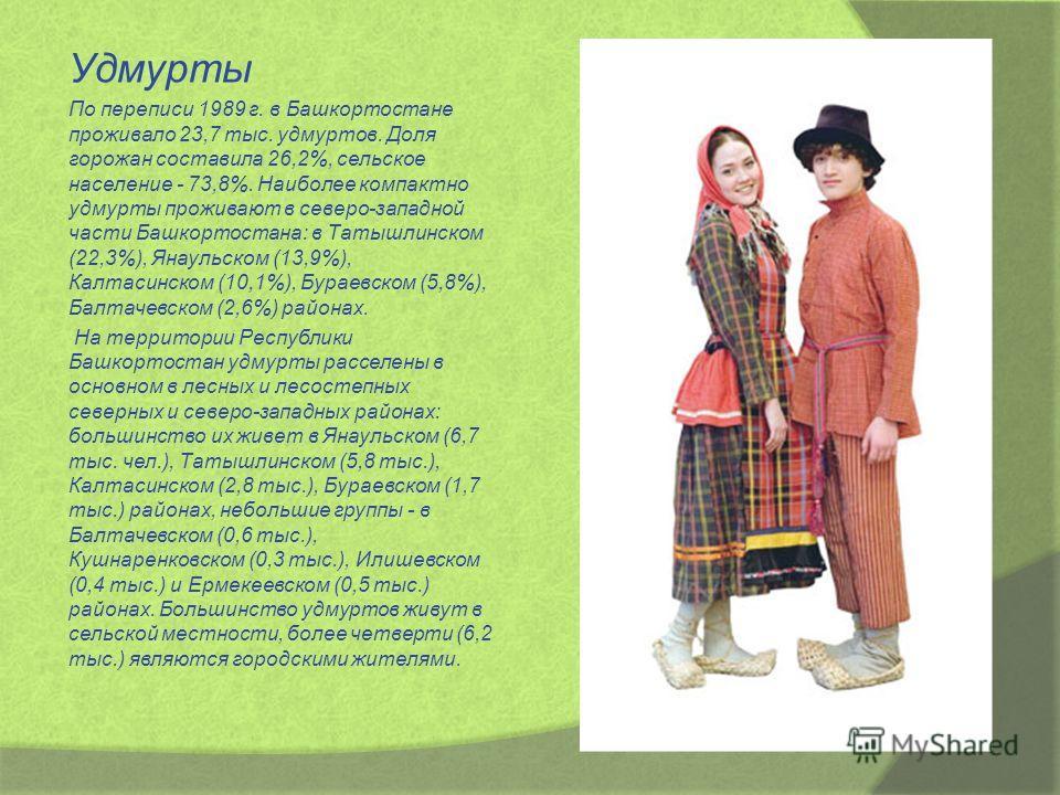Удмурты По переписи 1989 г. в Башкортостане проживало 23,7 тыс. удмуртов. Доля горожан составила 26,2%, сельское население - 73,8%. Наиболее компактно удмурты проживают в северо-западной части Башкортостана: в Татышлинском (22,3%), Янаульском (13,9%)