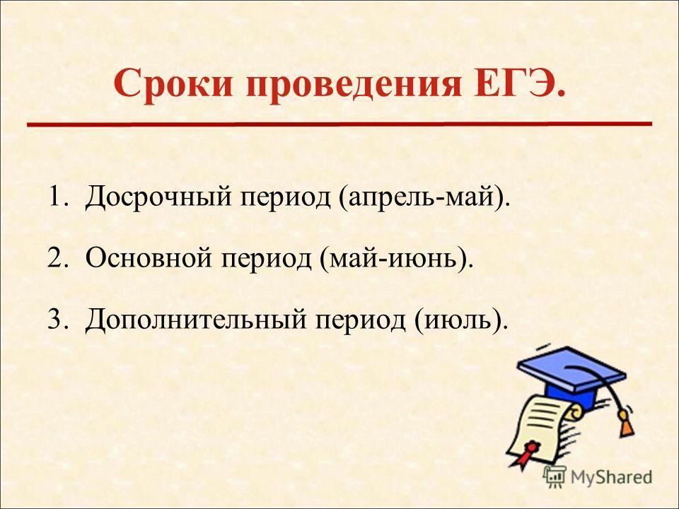 1. Досрочный период (апрель-май). 2. Основной период (май-июнь). 3. Дополнительный период (июль). Сроки проведения ЕГЭ.