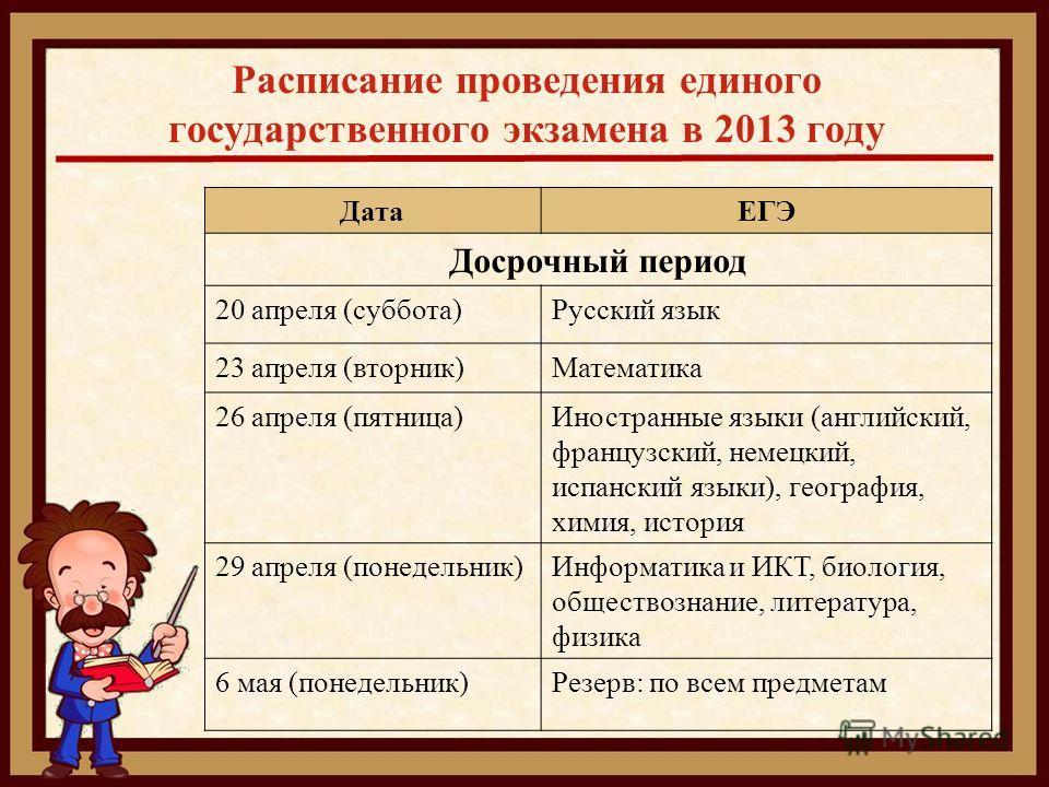 Расписание проведения единого государственного экзамена в 2013 году ДатаЕГЭ Досрочный период 20 апреля (суббота)Русский язык 23 апреля (вторник)Математика 26 апреля (пятница)Иностранные языки (английский, французский, немецкий, испанский языки), геог