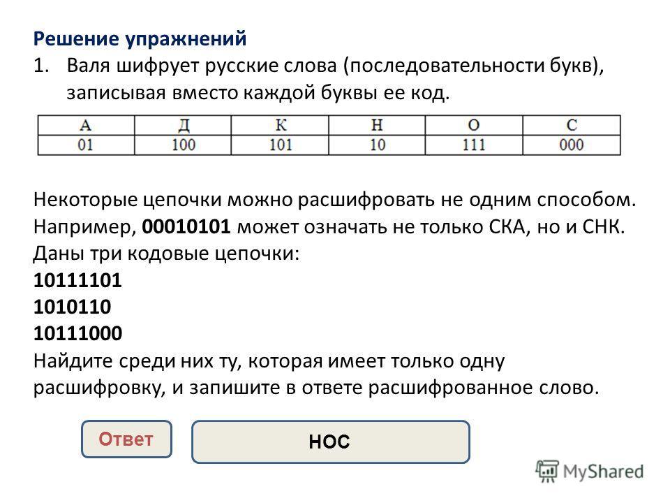 Решение упражнений 1. Валя шифрует русские слова (последовательности букв), записывая вместо каждой буквы ее код. Некоторые цепочки можно расшифровать не одним способом. Например, 00010101 может означать не только СКА, но и СНК. Даны три кодовые цепо