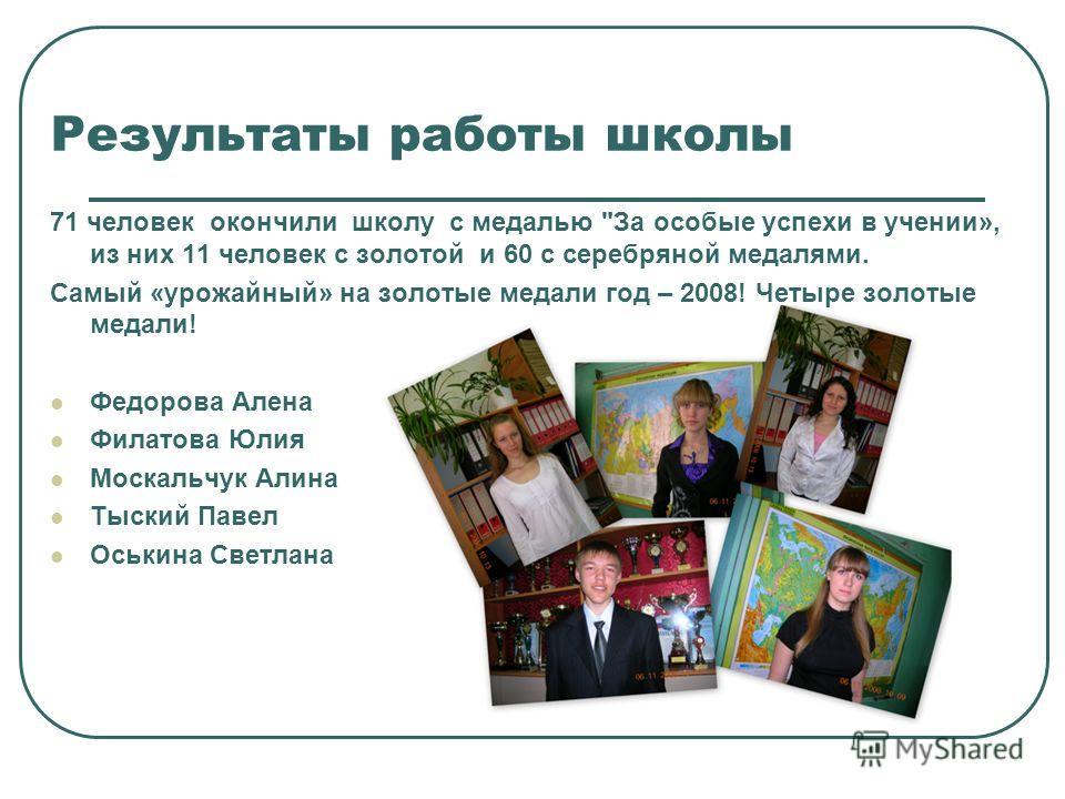 Результаты работы школы 71 человек окончили школу с медалью