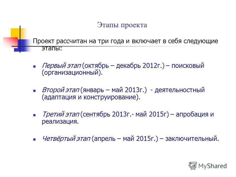 Этапы проекта Проект рассчитан на три года и включает в себя следующие этапы: Первый этап (октябрь – декабрь 2012 г.) – поисковый (организационный). Второй этап (январь – май 2013 г.) - деятельностный (адаптация и конструирование). Третий этап (сентя