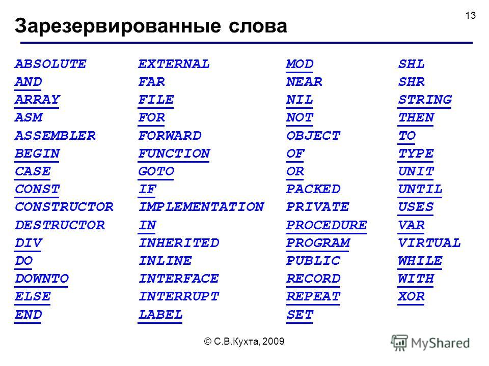 © С.В.Кухта, 2009 13 Зарезервированные слова ABSOLUTE AND ARRAY ASM ASSEMBLER BEGIN CASE CONST CONSTRUCTOR DESTRUCTOR DIV DO DOWNTO ELSE END EXTERNAL FAR FILE FOR FORWARD FUNCTION GOTO IF IMPLEMENTATION IN INHERITED INLINE INTERFACE INTERRUPT LABEL M