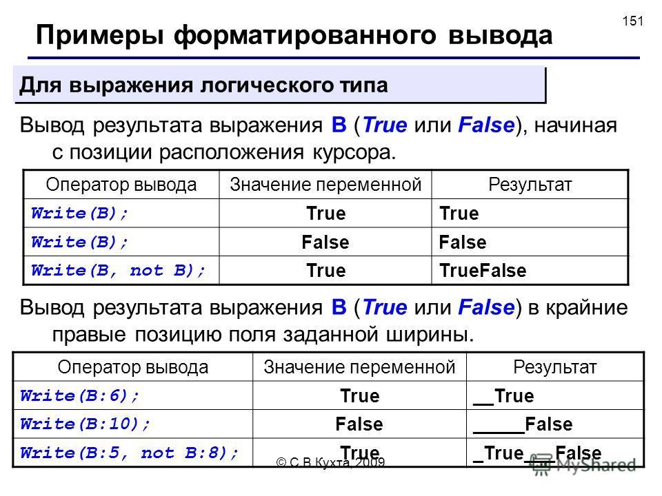 © С.В.Кухта, 2009 151 Примеры форматированного вывода Вывод результата выражения B (True или False), начиная с позиции расположения курсора. Для выражения логического типа Вывод результата выражения B (True или False) в крайние правые позицию поля за