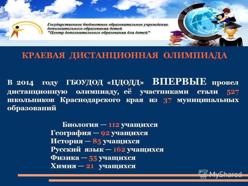 КРАЕВАЯ ДИСТАНЦИОННАЯ ОЛИМПИАДА В 2014 году ГБОУДОД «ЦДОДД» ВПЕРВЫЕ провел дистанционную олимпиаду, её участниками стали 527 школьников Краснодарского края из 37 муниципальных образований Биология 112 учащихся География 92 учащихся История 85 учащихс