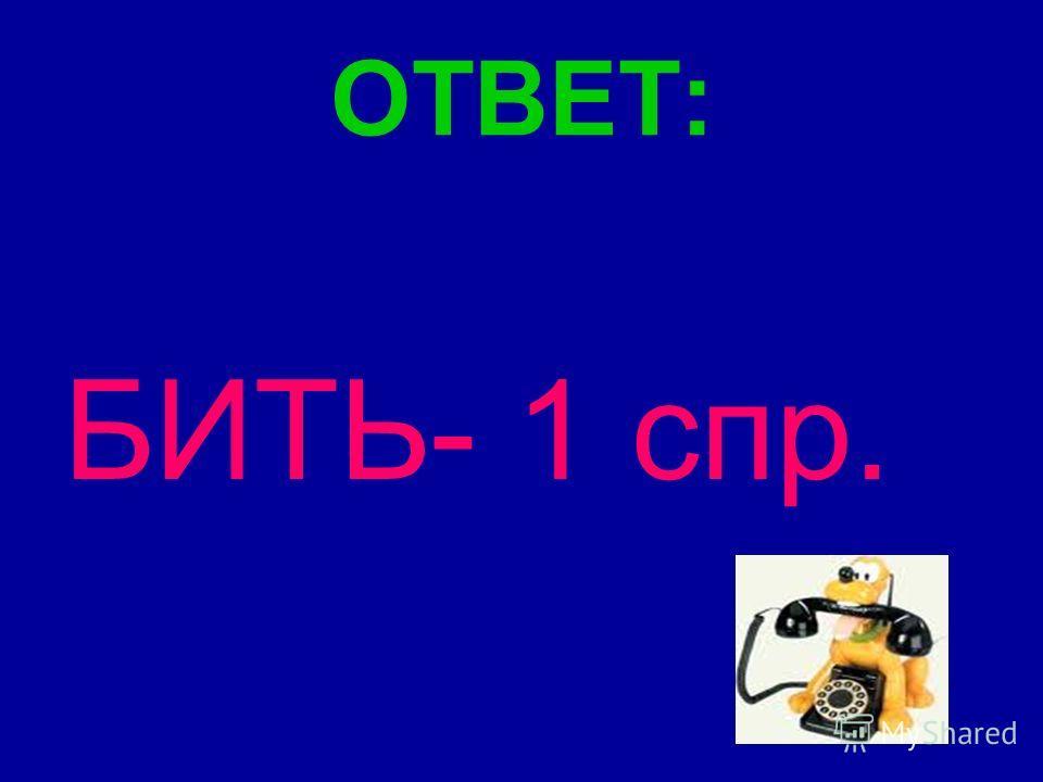 ОТВЕТ: БИТЬ- 1 спр.