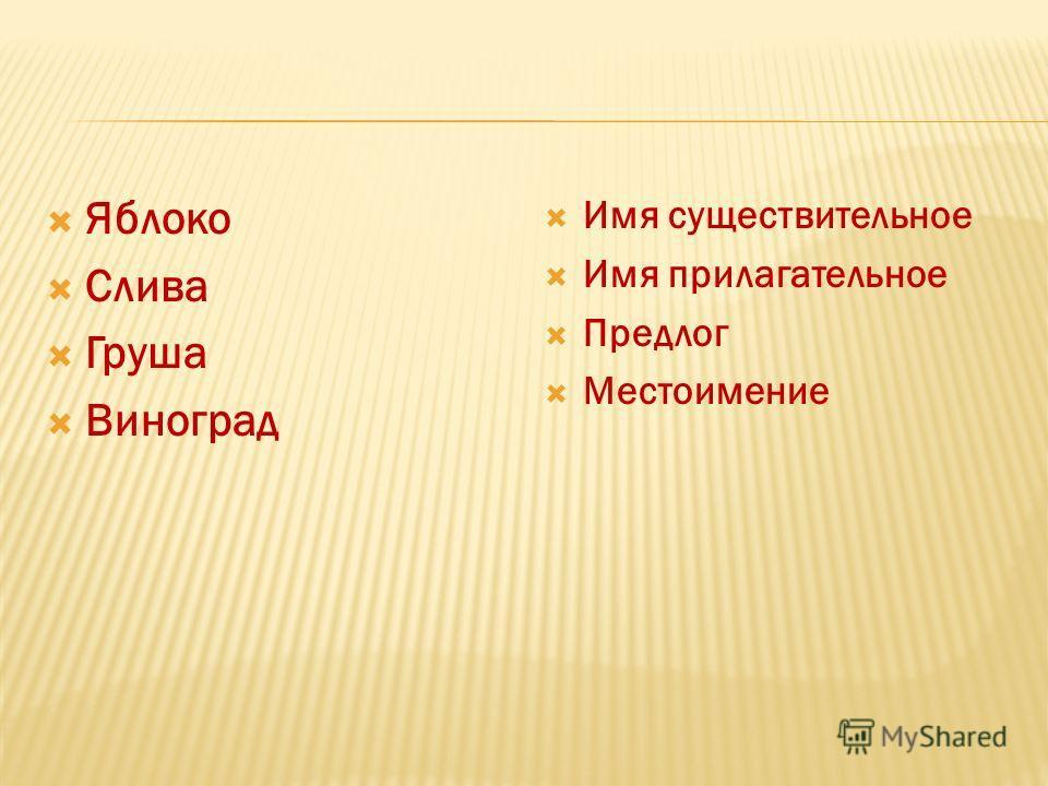 Яблоко Слива Груша Виноград Имя существительное Имя прилагательное Предлог Местоимение