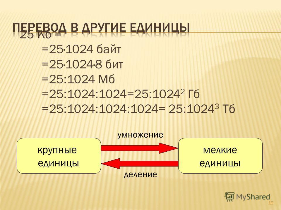 25 Кб = =25·1024 байт =25·1024·8 бит =25:1024 Мб =25:1024:1024=25:1024 2 Гб =25:1024:1024:1024= 25:1024 3 Тб 19 крупные единицы мелкие единицы деление умножение