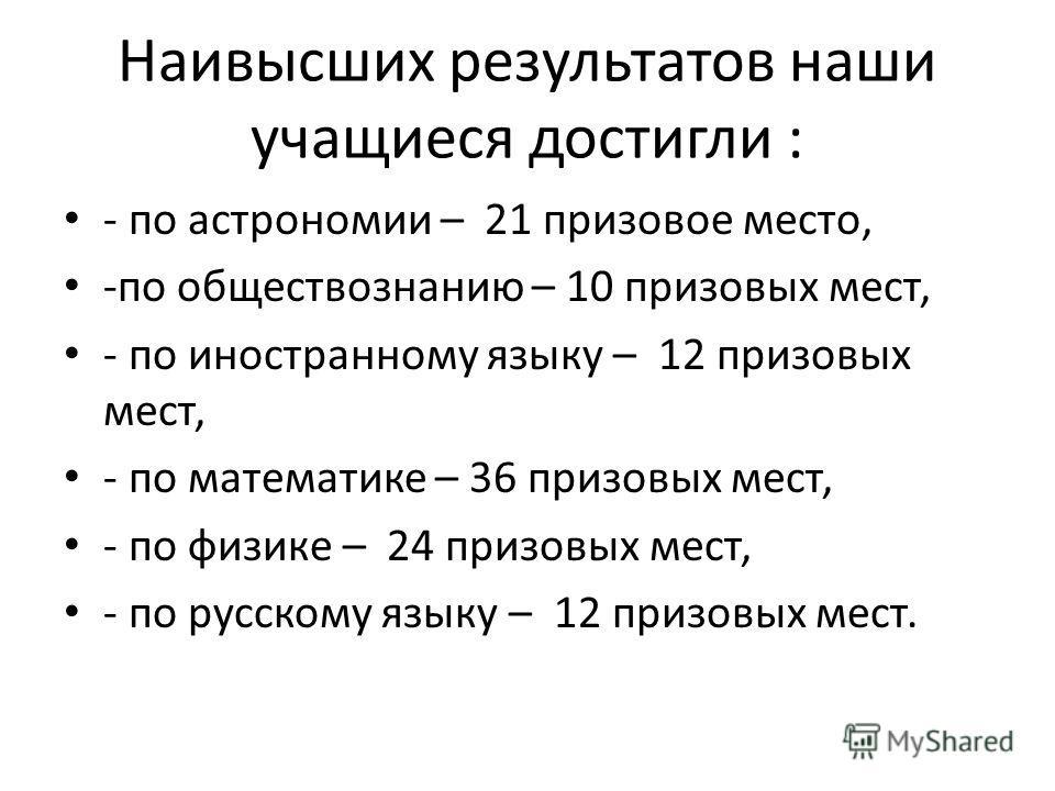 Наивысших результатов наши учащиеся достигли : - по астрономии – 21 призовое место, -по обществознанию – 10 призовых мест, - по иностранному языку – 12 призовых мест, - по математике – 36 призовых мест, - по физике – 24 призовых мест, - по русскому я
